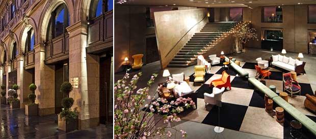 Fachada e lobby do Paramount em Nova York.