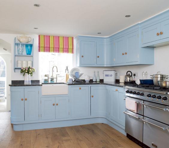 Blue Cottage Kitchen Cabinets: Decoração Nova Na Cozinha, Na Cor Azul. Hardecor