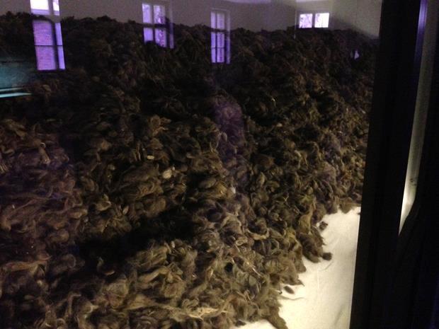 Os prisioneiros tinham seus cabelos raspados e vendidos para fábricas alemãs que os usavam para fabricar tecido. Nesta sala há mais de duas toneladas de cabelos, hoje já deteriorados.