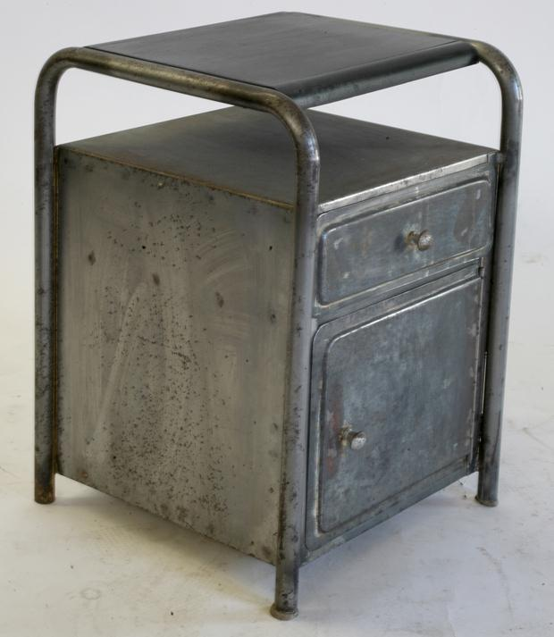 industrial  furniture-fantastic-french-art-deco-metal-industial-night-stands-with-single-drawer-and-one-cabinet-inspiring-universal-metal-nightstand