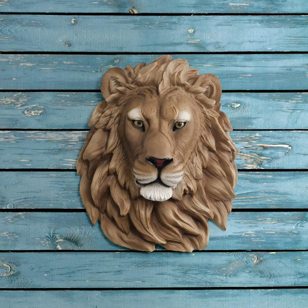 sign lion-head-faux-taxidermy--the-saharan--natural-afr-0