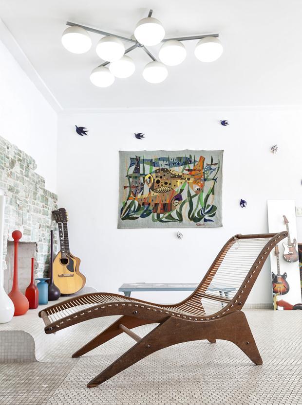 mob Espreguiçadeira José Zanine Caldas - Móveis Artísticos Z -c1950 -Tapeçaria -Jean Gillon -Coleção Sergio Gandhi Campos - Copia (2) - Copia