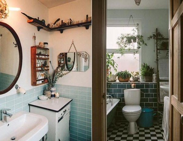 Dois exemplos de banheiros simples e cheios de charme. O que de fato conta são os acessórios. Invista na originalidade.