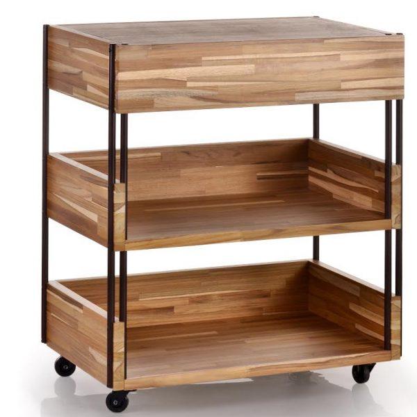 Baixa, esta versão da linha Clips vem com rodízios, e neste caso específico, com uma gaveta. A Teca é uma madeira super bonita .