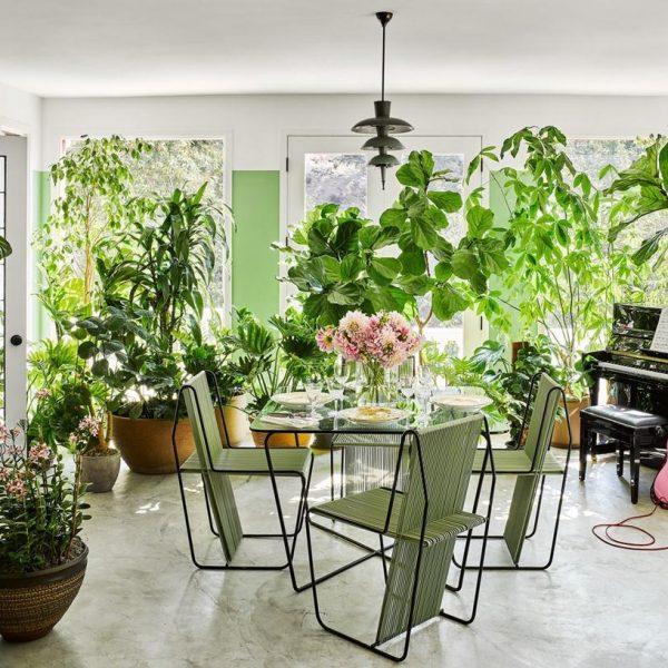 O solário cheio de plantas é cenário perfeito para os almoços de domingo e para performances improvisadas.