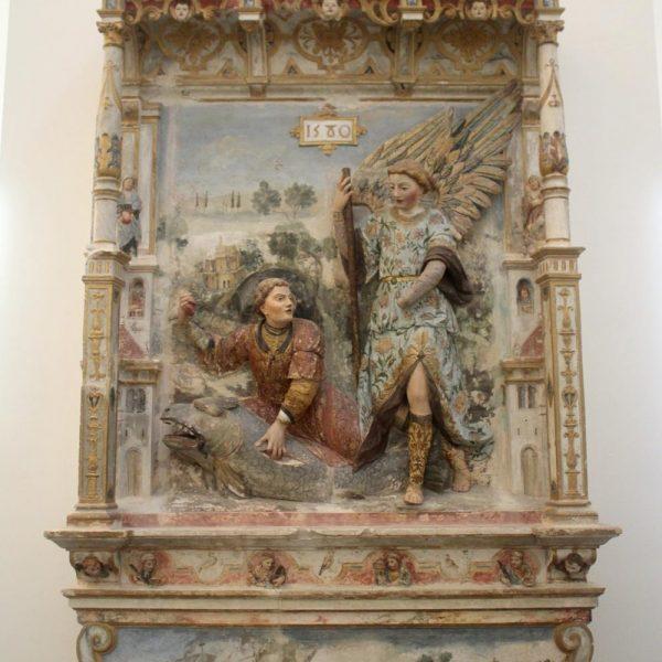 Retábulo, Tobias e São Rafael, de 1580. Eles parecem sair do suporte. Adorei.