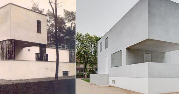 A casa de Walter Gropius e a versão atual, projeto do arquiteto Bruno Fioretti Marquez.