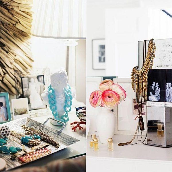 A bandeja é ótimo suporte, assim como objetos da decoração. Porta retratos e vasos, por exemplo, podem receber colares e pulseiras.