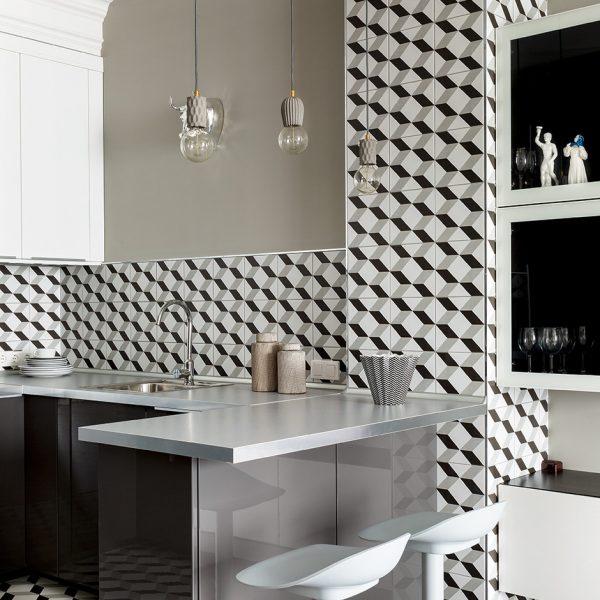 Azulejos Aparici Vanguard, banquetas IKEA e luminárias Latitude na charmosa cozinha em Moscou