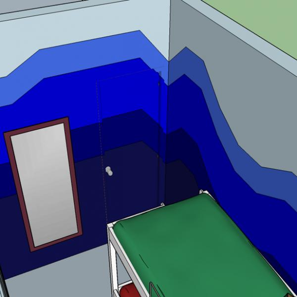 Detalhe da pintura, que passa por cima da porta. Quanto menos você dividir e segmentar, melhor