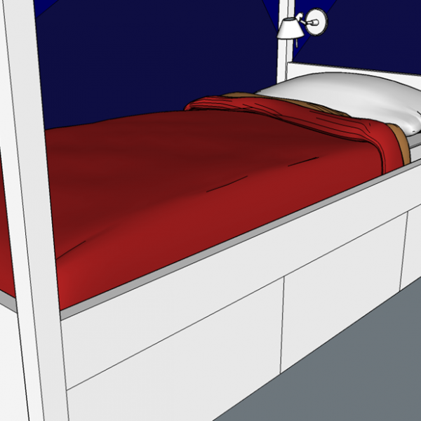 Gavetas sob a cama e arandela, aqui modelo Tolomeu, para leitura