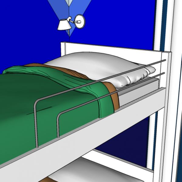 Na cama superior, do menino, grades muito delicadas em ferro, que podem ser pintadas em cinza grafite ou branco.