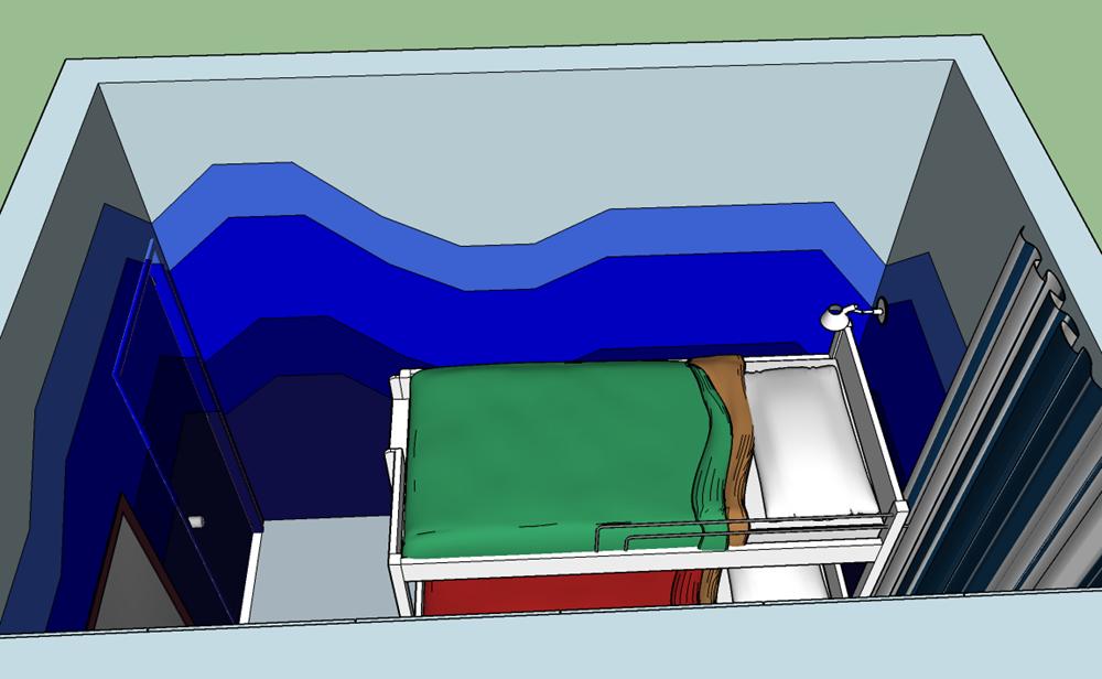 Vista geral do quarto, com pintura degredée em azul, cor que traduz e induz sensação de calma