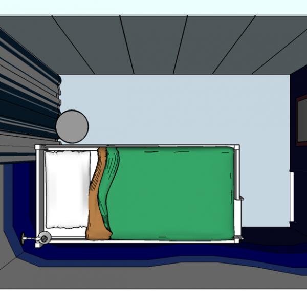 Armários com seis ou três portas, dependendo do fechamento dessas. É possível acomodar o material de escola