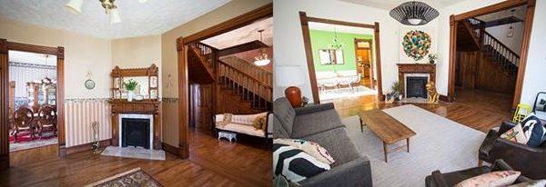 O antes e o depois lado a lado. O grande tapete clareou toda a composição e fez bastante diferença no resultado final.