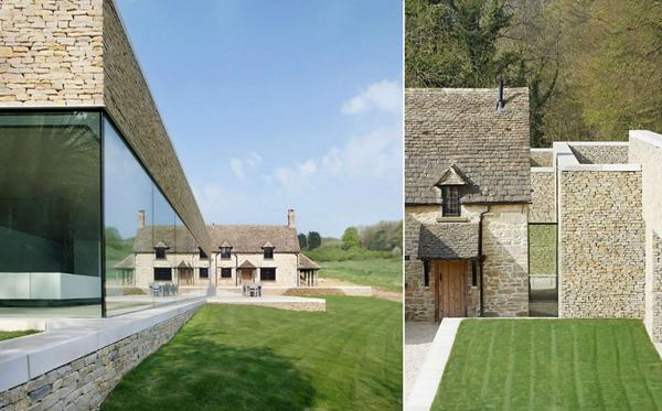 A casa antiga refletida na nova e à direita, a ligação entre as duas construções.
