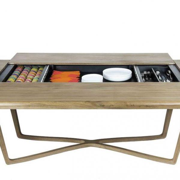 Mesa de jantar MV Dinning Table, com espaço para armazenamento