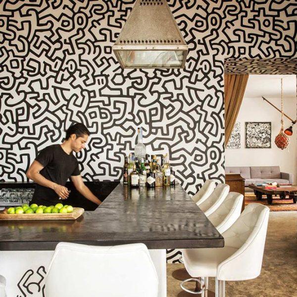 No bar, estampa inspirada em Keith Haring