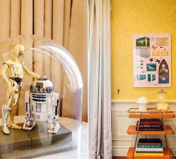 """O marido de Kristen é fã inconteste da franquia de George Lucas, """"Star Wars"""". À direita, sobre mesa bar, obra de Damien Hirst"""