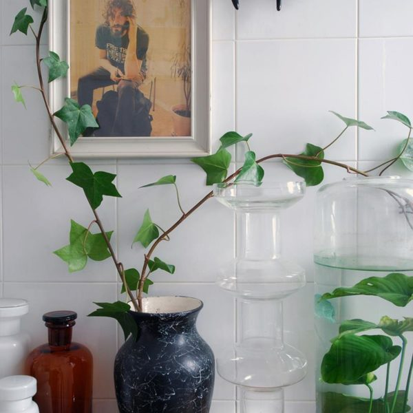 A trepadeira se espalha pelo ambiente e faz par perfeito com a andorinha Bordallo Pinheiro. Sempre lindo!