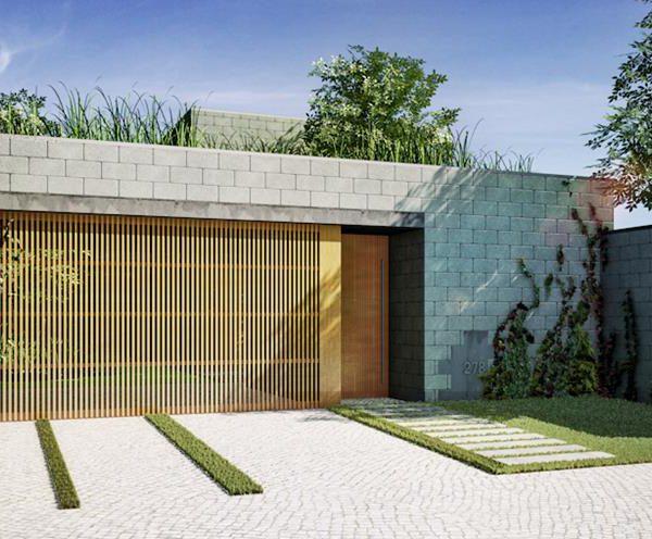 Bloco de concreto + madeira + verde = acerto!!
