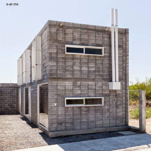 A fachada austera tem tudo a ver com o material