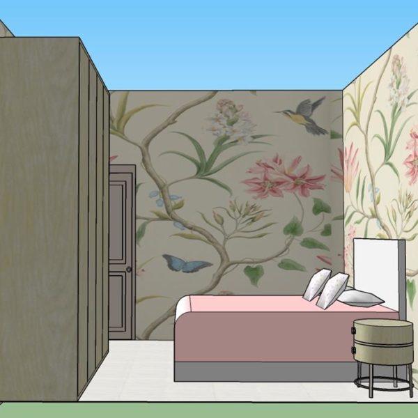 Um papel de parede reveste todo o quarto e resolve a decoração do ambiente