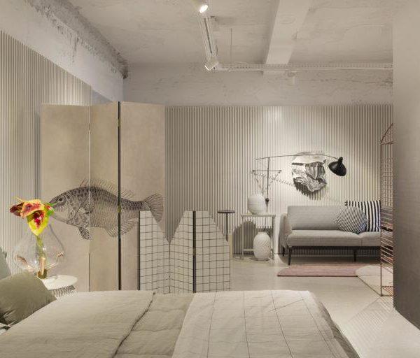 Os biombos conferem privacidade ao quarto