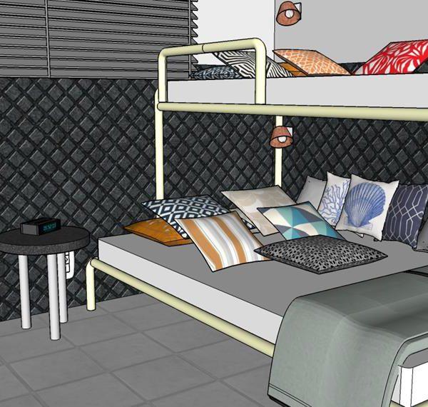 A cama de baixo, um pouco maior, com 1,10 m de largura, ajuda a acomodar os amigos na hora do bate papo. As muitas almofadas, mais macias do que gorduchas, são essenciais para deixar os meninos confortáveis. Invista em estampas