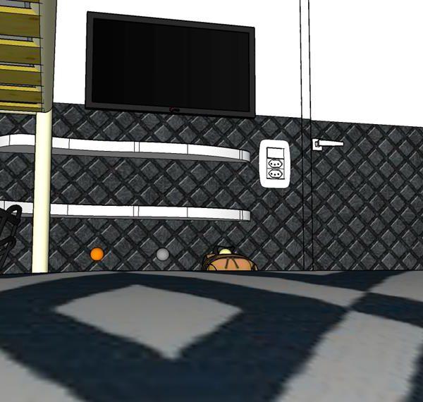 O papel de parede pode ser substituído por uma pintura especial, que vocês podem fazer juntos em um fim de semana. A porta no mesmo padrão garante a harmonia. Pinte a parte superior da porta da cor da parede, e repita a solução na janela