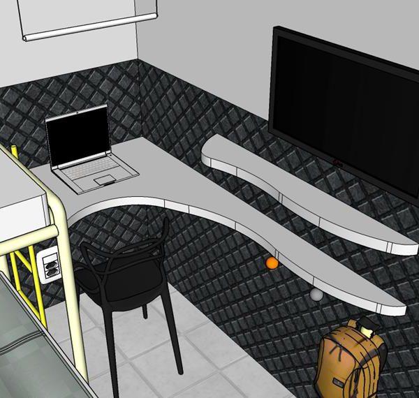A bancada de formato orgânico acomoda computador e recebe iluminação de pendente com lâmpada fria
