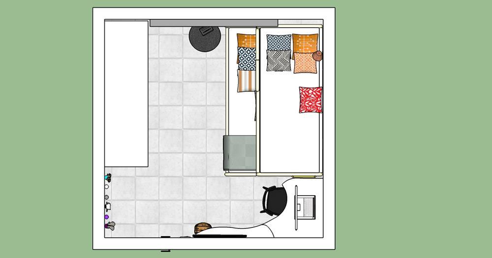 Planta baixa do quarto de 2,77 x 2,77. Beliche, armário e uma bancada de estudos