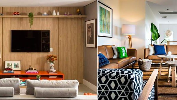 À esquerda, living de Melina Romano com painel que recobre toda a parede e disfarça a porta. Na foto à direita, as mesinhas pequenas podem também funcionar como assentos auxiliares