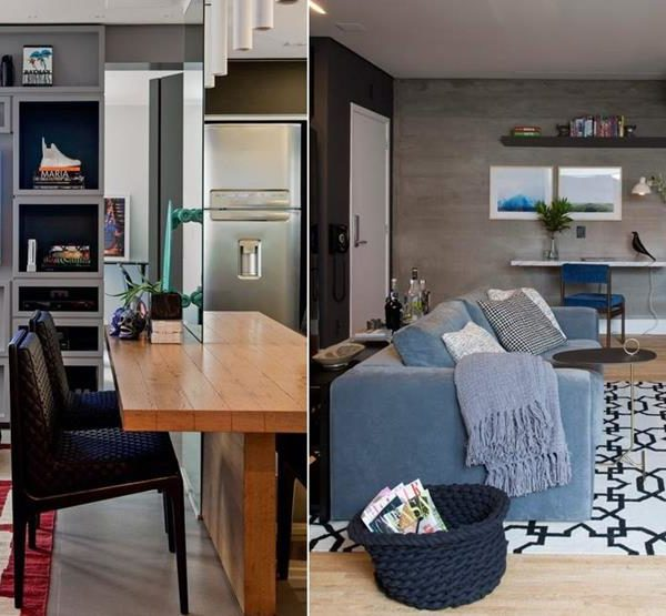 A estante quase até o teto acomoda além da TV, livros e objetos. Observe como o tapete alegra a composição. A direita, a TV sobre a parede