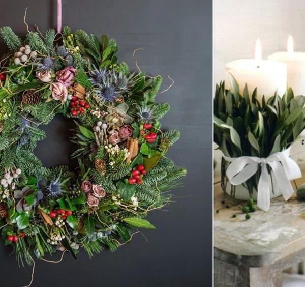 Flores secas na guirlanda e folhas nas velas garantem elegância na data mais comemorada do ano