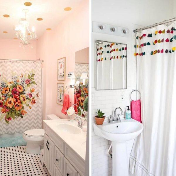 Nesses banheiros, os elementos charmosos chamam atenção suficiente para que a falta de graça do ambiente fique esquecida