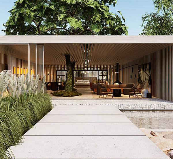 Otto Felix incorporou duas árvores ao seu projeto Casa de Campo