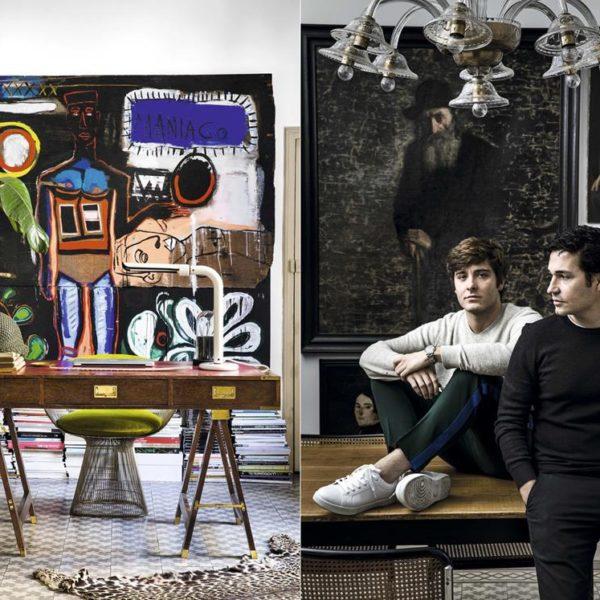 No escritório, escrivaninha apoiada por cavaletes e poltrona Warren Platner, linda. À direita, Mario Antón e Kenneth López