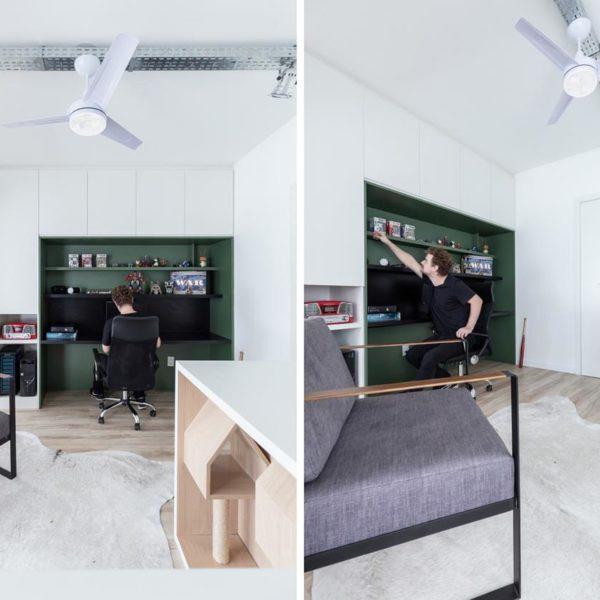 Pintar o escritório de uma cor diferente delimita o espaço e confere charme extra
