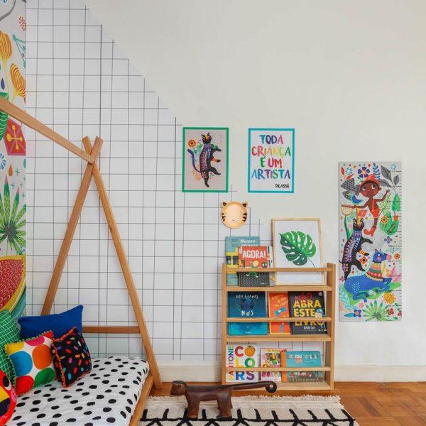 A loja Mooui assina esse quarto, que tem inspiração nas tendas indígenas. Fofo de tudo!