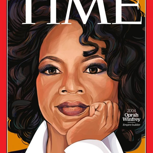 A cada de 2004: Oprah Winfrey. Ilustração belíssima de Amanda Lenz