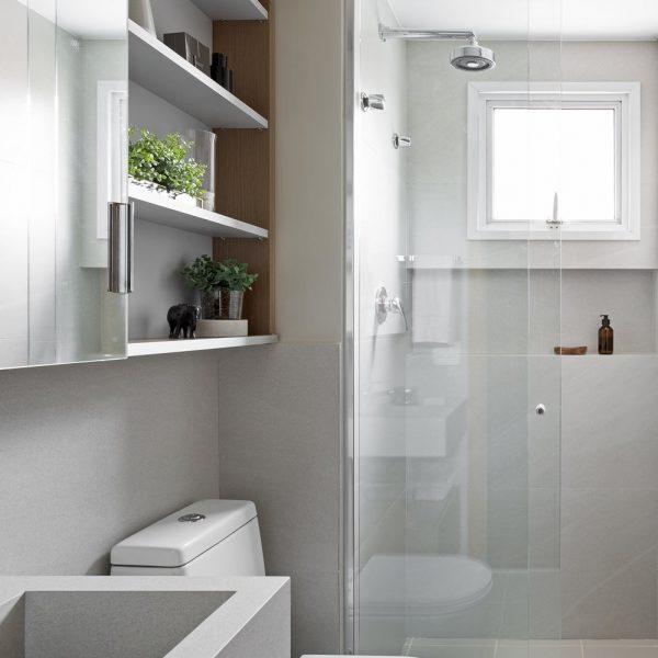A turma do Oliva Arquitetura adotou box do piso ao teto para um banho relaxante e quentinho ao final do dia