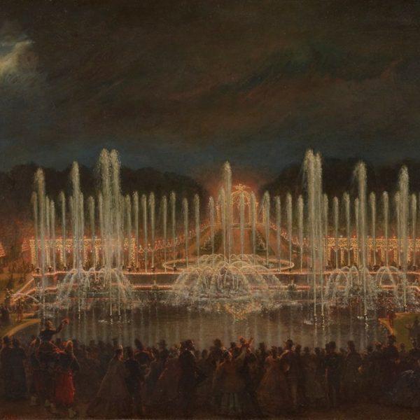 O quadro Noturno em Versalhes, 1864, de Eugène-Louis Lami reproduz o espetáculo Grandes Eaux de Versailles, que ainda acontece em determinada época do ano. Se puder, fuja.