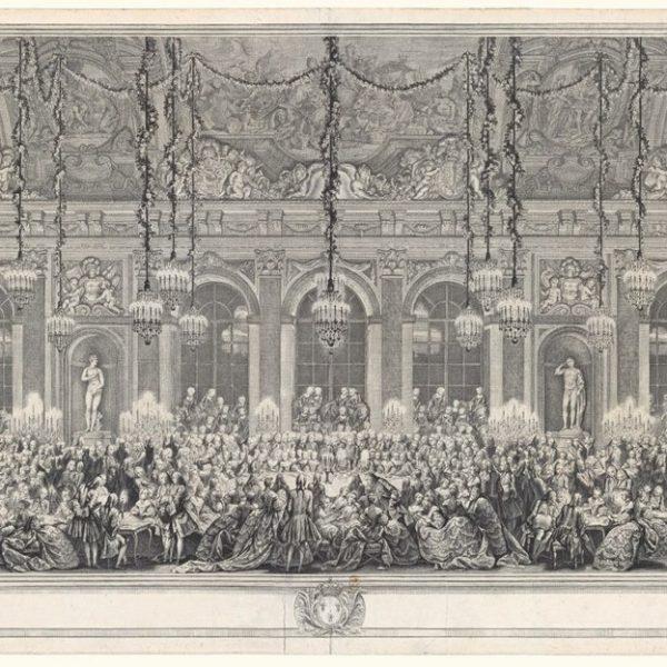 Uma gravura de 1747 de Charles-Nicolas Cochin, o Velho, retratando uma festa no Salão dos Espelhos.